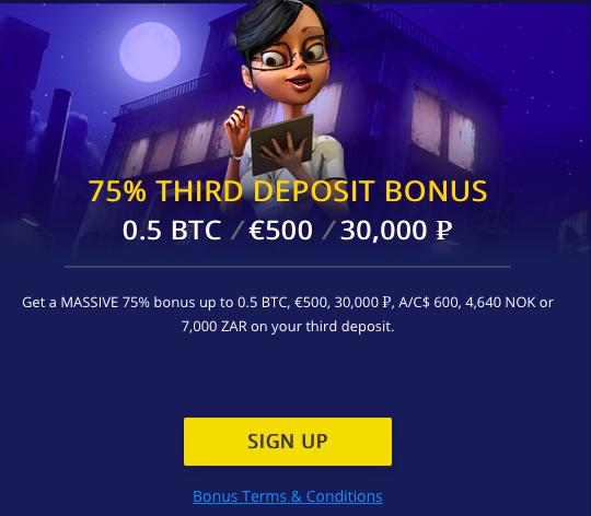 75% Third Deposits Bonus