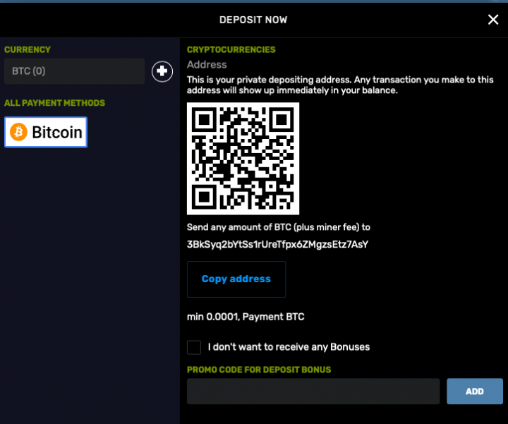 Bitcoincasino.us account registration