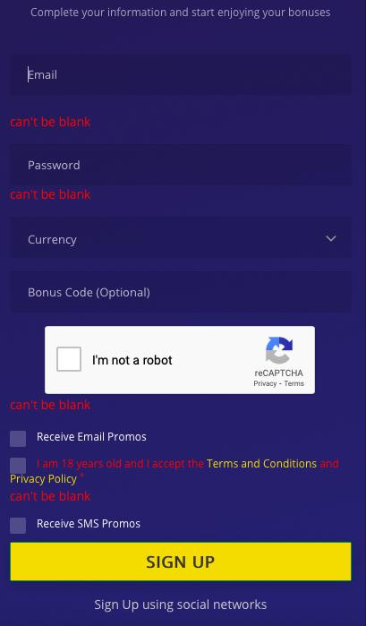 Betchain Casino Account Registration