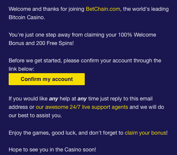 Betchain Casino Account Emails Verification