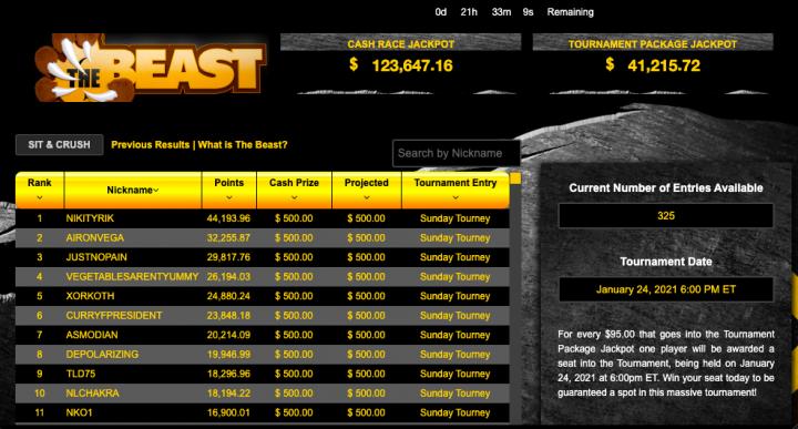 Black Chip Poker - The Beast bonus offer