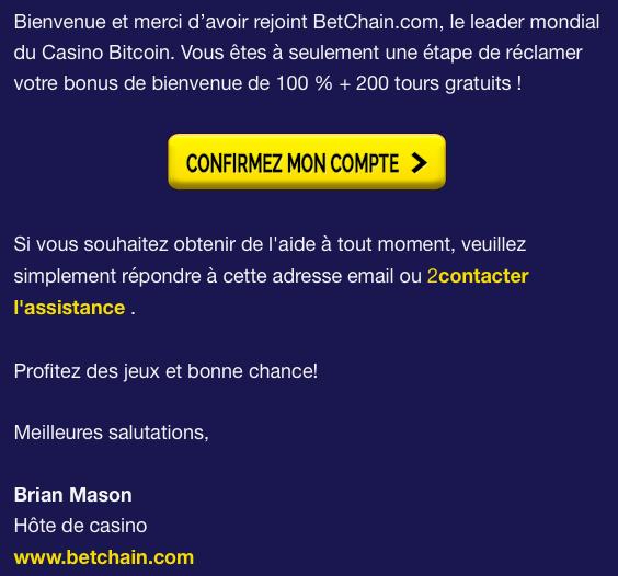 Vérification des e-mails du compte Betchain Casino