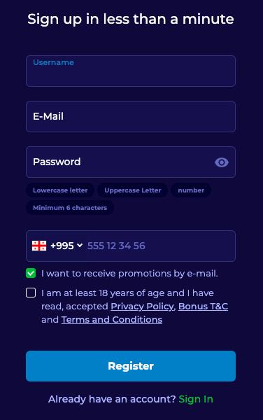 BetVili registration